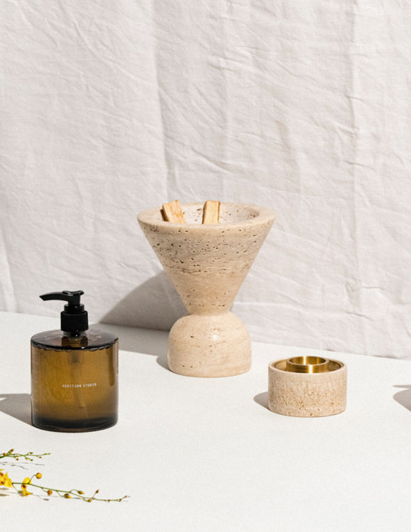 Addition studio - stunning collectors items including the addition studio travertine incense holder and the travertine brass tea light holder diffuser