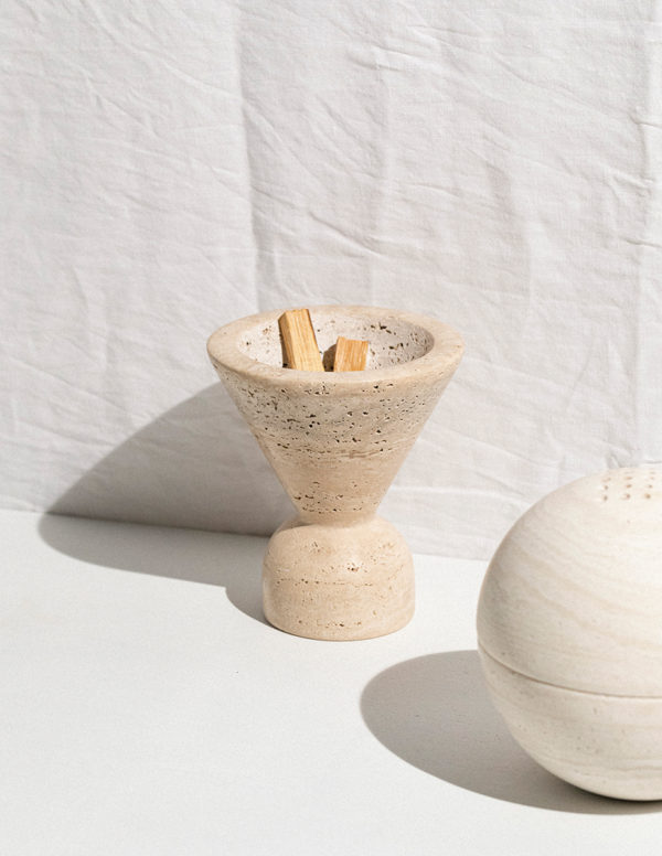 travertine sage bowl and the sphere incense burner by addition studio