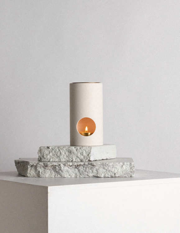 synergy oil burner by addition studio - limestone oil burner australia - deisgner oil burner with natural lavender essential oils and beeswax candle
