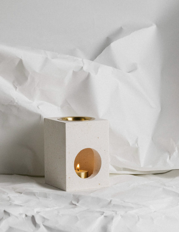 limestone oil burner - cubic oil burner - addition studio oil burner - oil burner made of marble