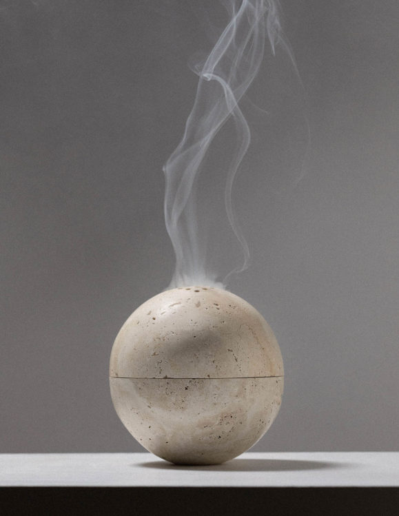 sphere incense burner in travertine - addition studio incense burner - travertine stone palo santo burner
