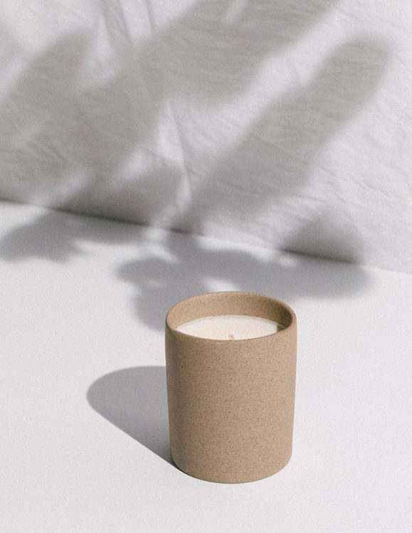 organic candle in stone cup addition studio - reusable stone