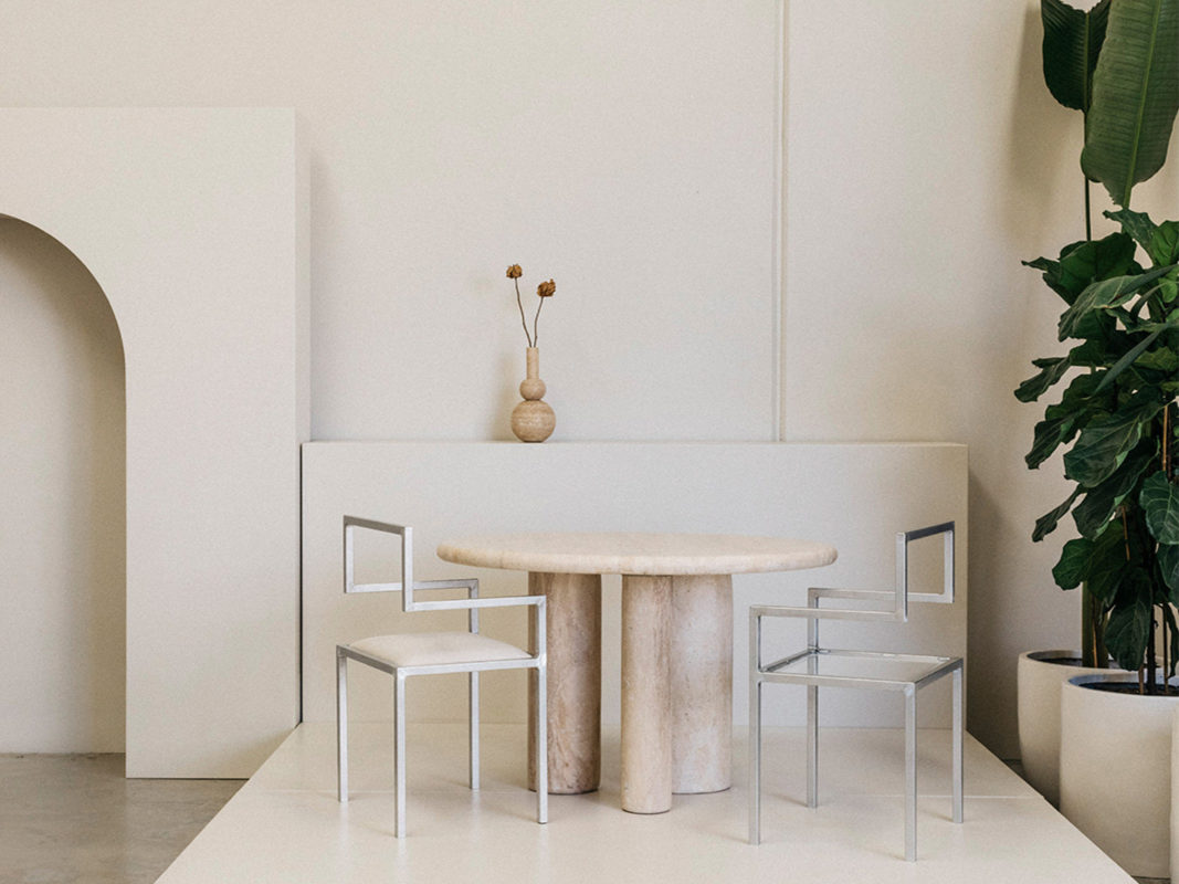 addition studio - molecular travertine vase - travertine dining table - the invisible chair famous designer chairs - travertine furniture australia