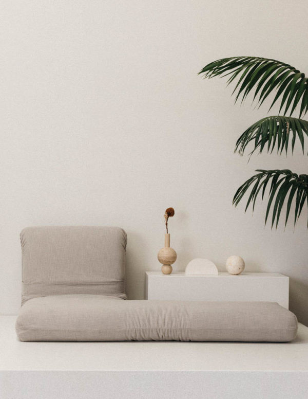 Caterpillar Couch by addition studio - travertine vase - travertine sphere incense burner - travertine designer homewares