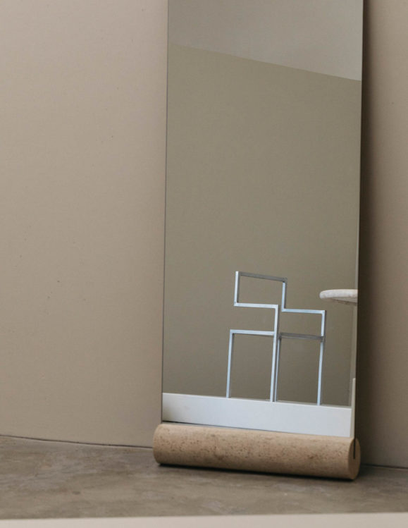 travertine floor mirror - full length mirror - full length floor mirror with solid travertine cylinder base