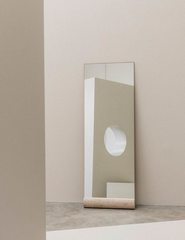 Floor Mirror - travertine floor mirror - full length mirror - full length floor mirror with solid travertine cylinder base