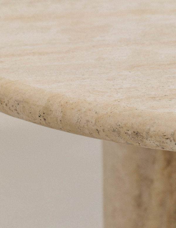travertine introvert dining table - travertine dining table - stone dining table - stone table - solid travertine table