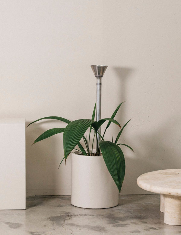 Plant Funnel - addition studio - travertine coffee table - plant water funnel - plant watering funnel
