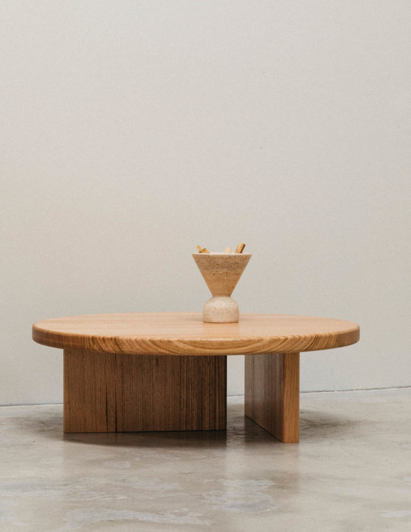 Sundial Coffee Table by addition studio - tasmanian oak coffee table - american oak coffee table - travertine home decor - incense burner centre piece