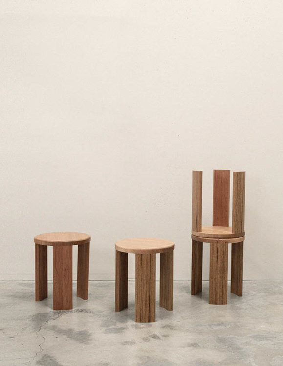 Sundial Stool - tasmanian oak and american oak stool - wooden stool addition studio