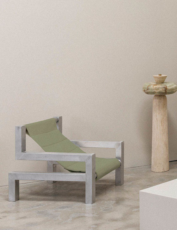 tetris chair in olive by addition studio - indoor lounging chair - outdoor sun chair - designer sun lounger - famous designer chairs