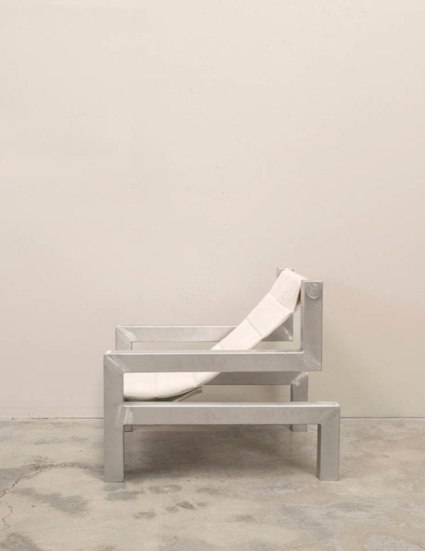tetris chair in white by addition studio - indoor lounging chair - outdoor sun chair - designer sun lounger - famous designer chairs