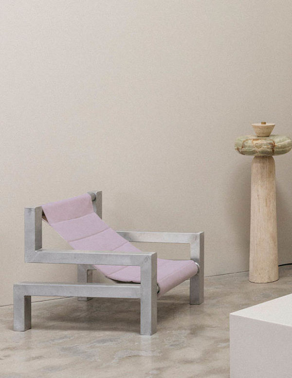 tetris chair in lilac by addition studio - indoor lounging chair - outdoor sun chair - designer sun lounger - famous designer chairs