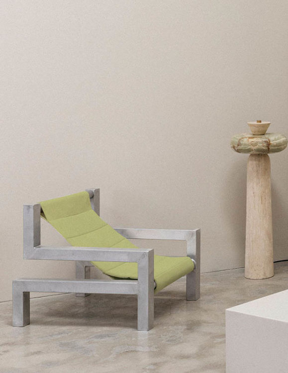 tetris chair in lime by addition studio - indoor lounging chair - outdoor sun chair - designer sun lounger - famous designer chairs