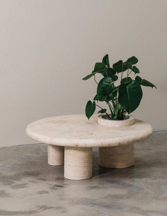 INTROVERT COFFEE TABLE - designer stone coffee table - travertine coffee table with plant in leg