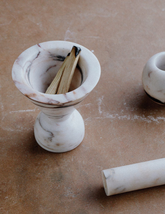marble decorations - incense burner with dark and red veins of marble colouring
